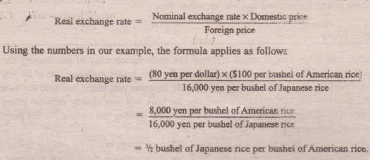 The Real Exchange Rate Is Bushel Of Anese Rice Per American We Can Summarize This Calculation For With